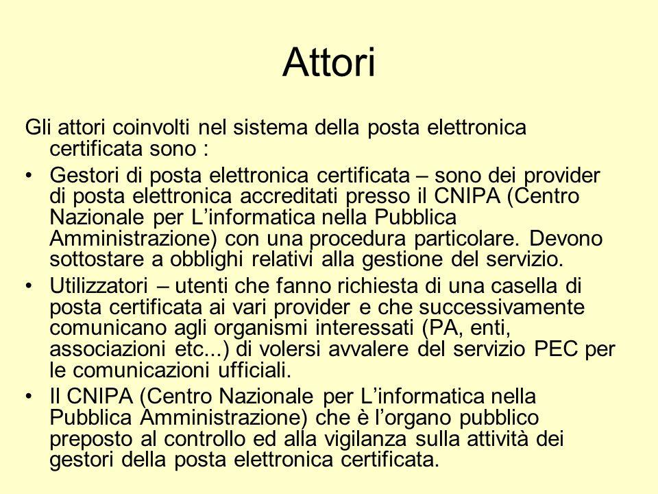 Attori Gli attori coinvolti nel sistema della posta elettronica certificata sono : Gestori di posta elettronica certificata – sono dei provider di pos