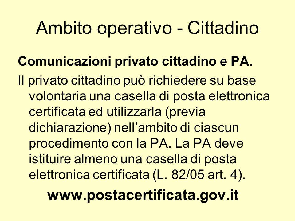 Ambito operativo - Cittadino Comunicazioni privato cittadino e PA. Il privato cittadino può richiedere su base volontaria una casella di posta elettro