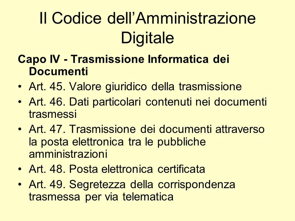 Il Codice dellAmministrazione Digitale Capo IV - Trasmissione Informatica dei Documenti Art. 45. Valore giuridico della trasmissione Art. 46. Dati par