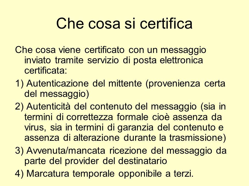 Che cosa si certifica Che cosa viene certificato con un messaggio inviato tramite servizio di posta elettronica certificata: 1) Autenticazione del mit