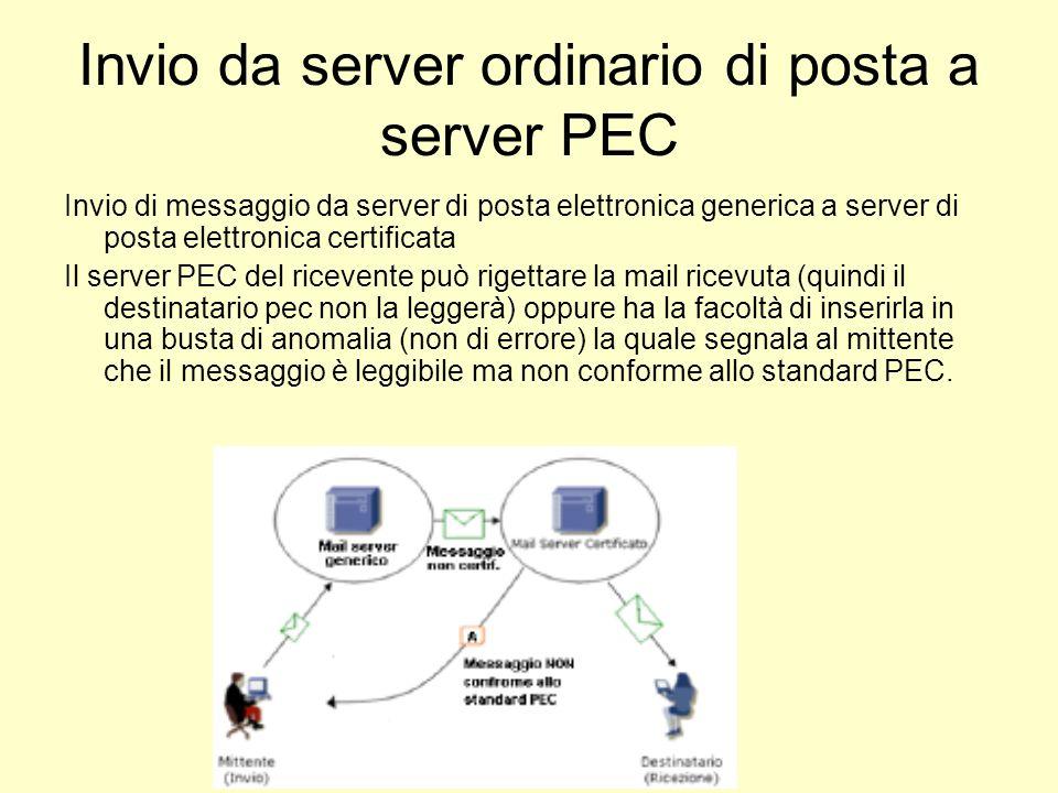 Invio da server ordinario di posta a server PEC Invio di messaggio da server di posta elettronica generica a server di posta elettronica certificata I
