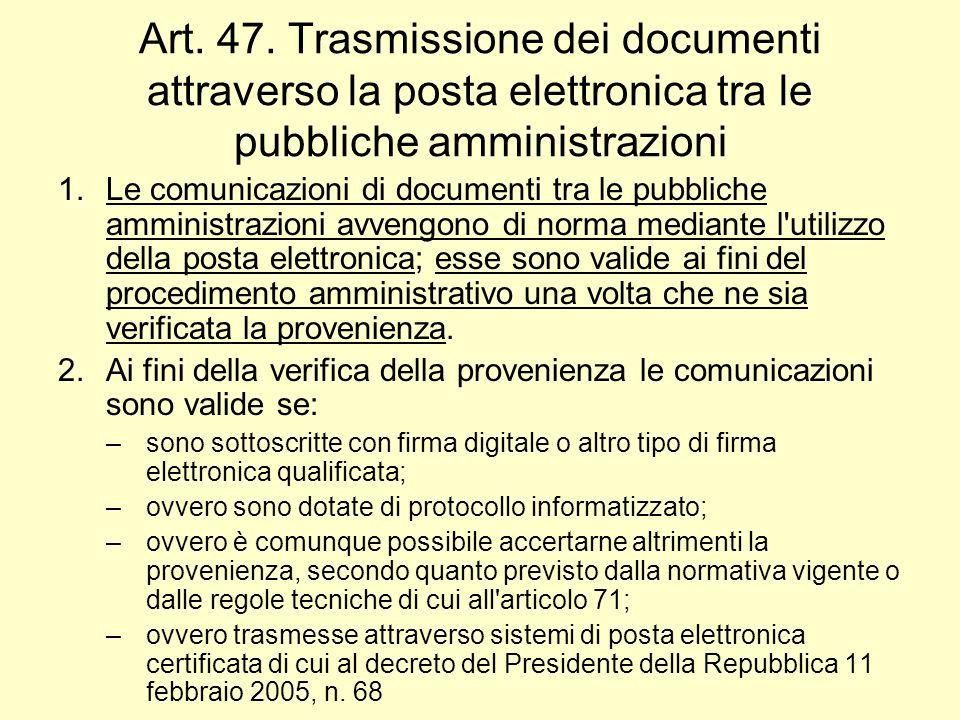 Art. 47. Trasmissione dei documenti attraverso la posta elettronica tra le pubbliche amministrazioni 1.Le comunicazioni di documenti tra le pubbliche