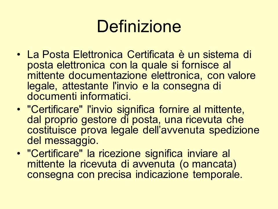 Definizione La Posta Elettronica Certificata è un sistema di posta elettronica con la quale si fornisce al mittente documentazione elettronica, con va