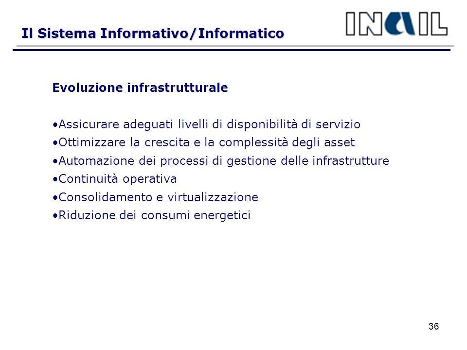 Il Sistema Informativo/Informatico 36 Evoluzione infrastrutturale Assicurare adeguati livelli di disponibilità di servizio Ottimizzare la crescita e la complessità degli asset Automazione dei processi di gestione delle infrastrutture Continuità operativa Consolidamento e virtualizzazione Riduzione dei consumi energetici