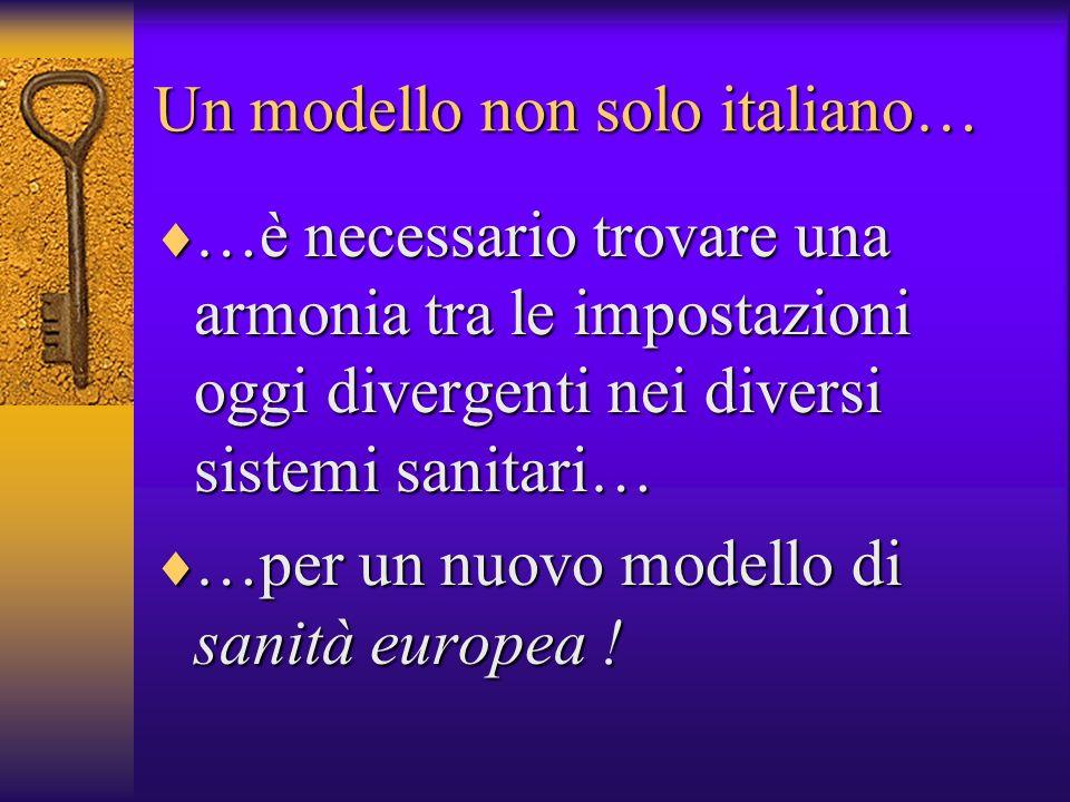 Un modello non solo italiano… …è necessario trovare una armonia tra le impostazioni oggi divergenti nei diversi sistemi sanitari… …è necessario trovare una armonia tra le impostazioni oggi divergenti nei diversi sistemi sanitari… …per un nuovo modello di sanità europea .