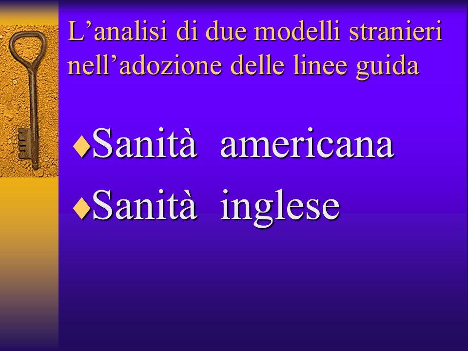 Lanalisi di due modelli stranieri nelladozione delle linee guida Sanità americana Sanità americana Sanità inglese Sanità inglese