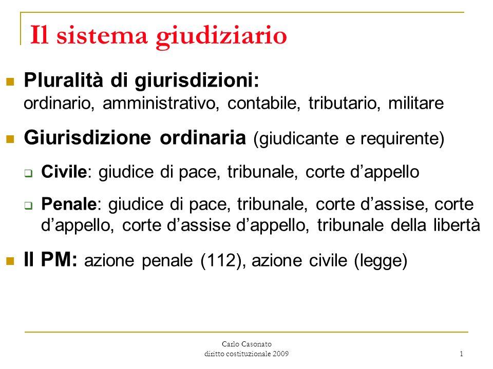 Carlo Casonato diritto costituzionale 2009 1 Il sistema giudiziario Pluralità di giurisdizioni: ordinario, amministrativo, contabile, tributario, mili