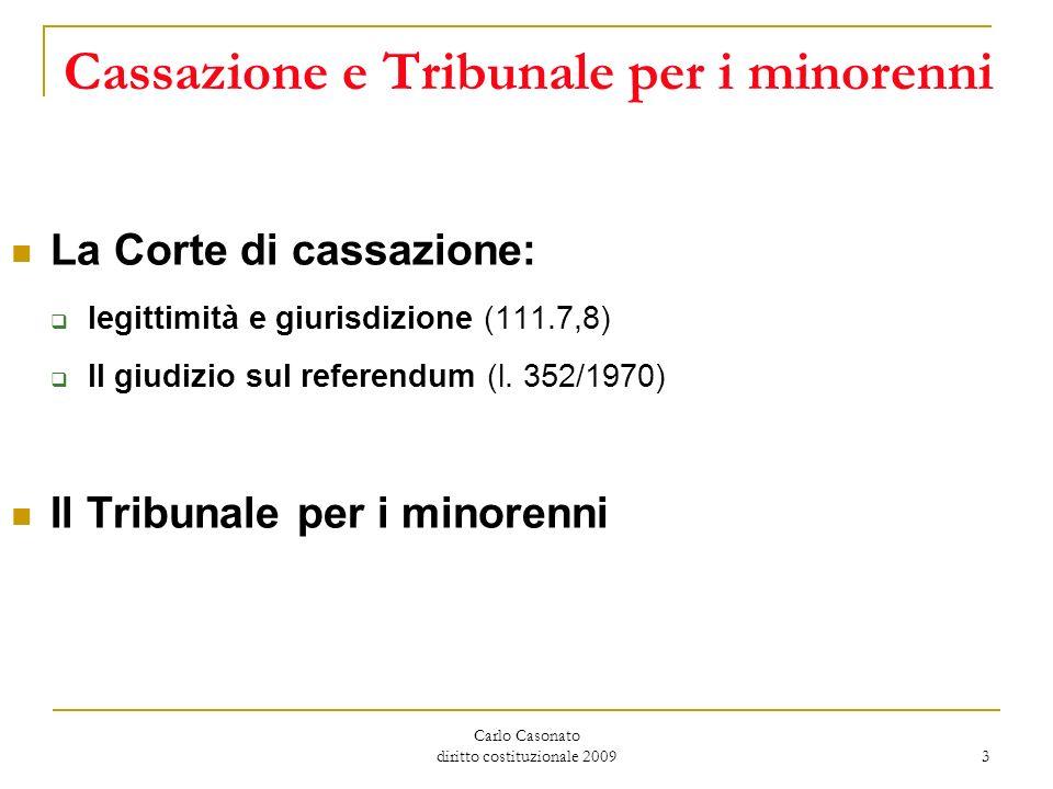 Carlo Casonato diritto costituzionale 2009 3 Cassazione e Tribunale per i minorenni La Corte di cassazione: legittimità e giurisdizione (111.7,8) Il g
