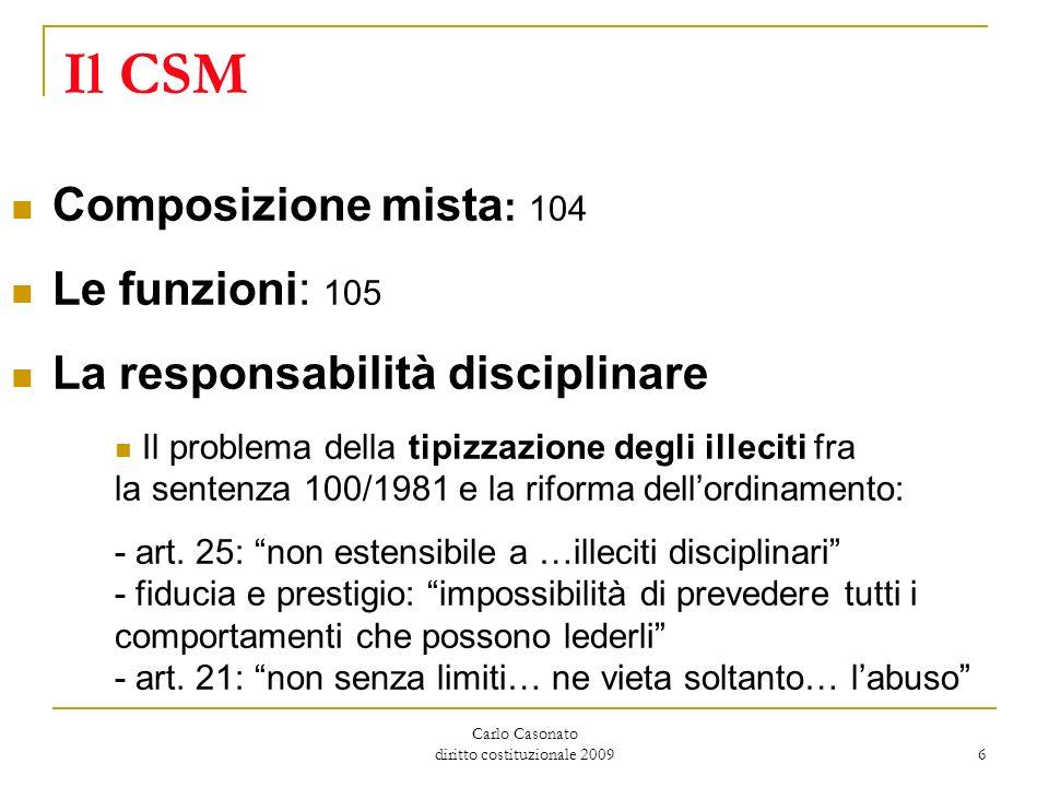 Carlo Casonato diritto costituzionale 2009 6 Il CSM Composizione mista : 104 Le funzioni: 105 La responsabilità disciplinare Il problema della tipizza