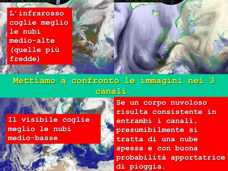 21 Mettiamo a confronto le immagini nei 3 canali. Linfrarosso coglie meglio le nubi medio-alte (quelle più fredde) Il visibile coglie meglio le nubi m