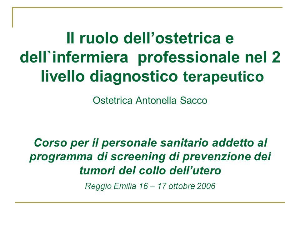 Il ruolo dellostetrica e dell`infermiera professionale nel 2 livello diagnostico terapeutico Ostetrica Antonella Sacco Corso per il personale sanitari