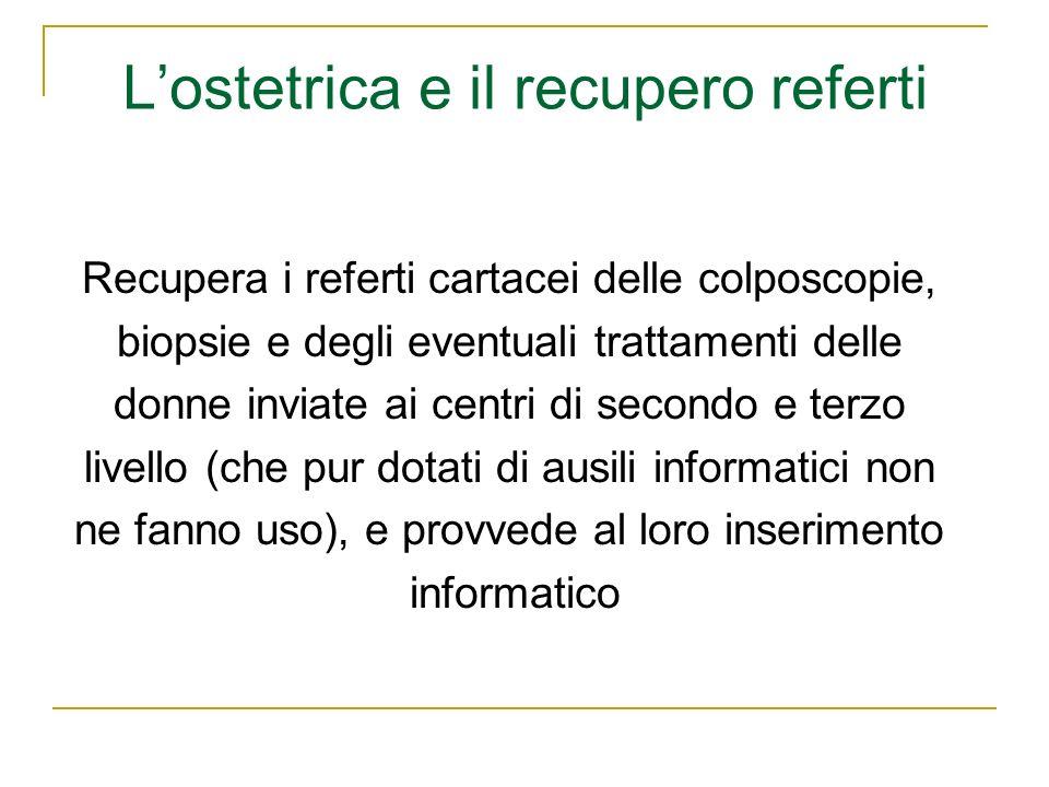 Lostetrica e il recupero referti Recupera i referti cartacei delle colposcopie, biopsie e degli eventuali trattamenti delle donne inviate ai centri di