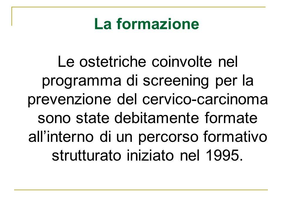 Le ostetriche coinvolte nel programma di screening per la prevenzione del cervico-carcinoma sono state debitamente formate allinterno di un percorso f