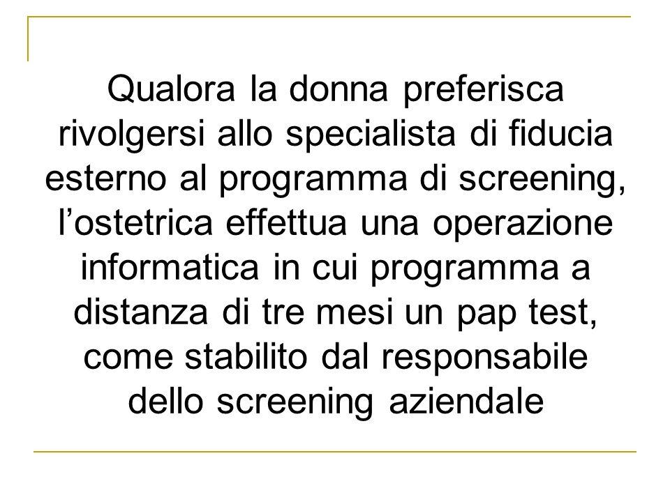 Qualora la donna preferisca rivolgersi allo specialista di fiducia esterno al programma di screening, lostetrica effettua una operazione informatica i