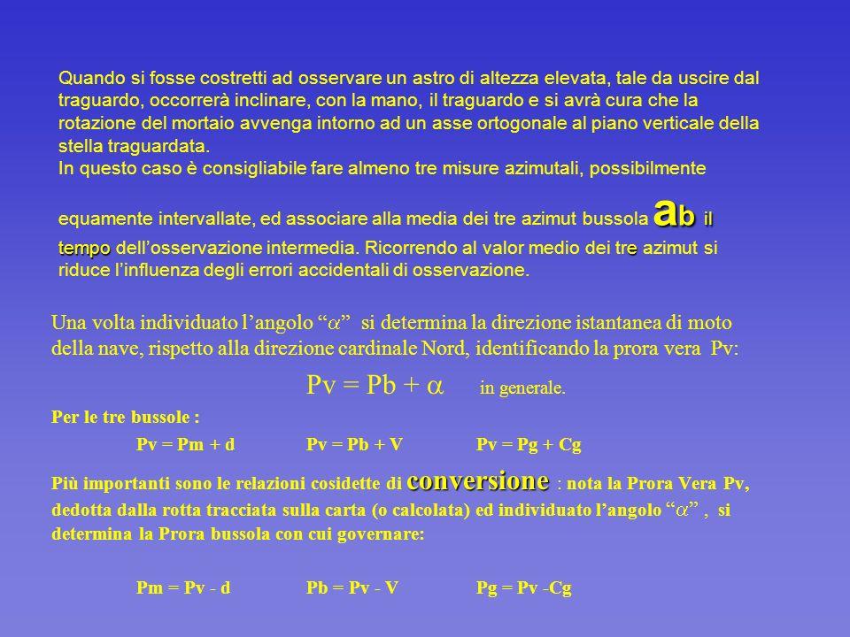 Data una determinata, istantanea, direzione di un astro A, langolo verrà individuato mettendo a confronto due azimut della stella: lazimut vero a v e lazimut bussola a b ( o a gb ): = a v - a b Lazimut vero a v dellastro A verrà calcolato, per un dato istante - istante di osservazione Tc - con uno dei metodi che costituiscono oggetto di studio di queste diapositive.
