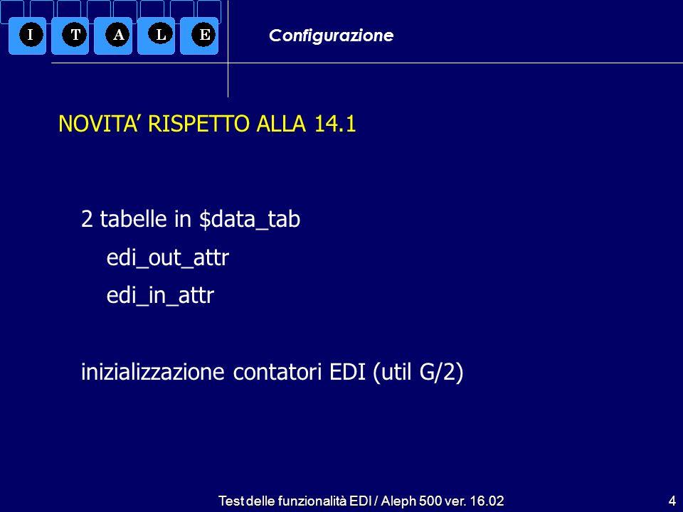 Test delle funzionalità EDI / Aleph 500 ver. 16.024 Configurazione 2 tabelle in $data_tab edi_out_attr edi_in_attr inizializzazione contatori EDI (uti