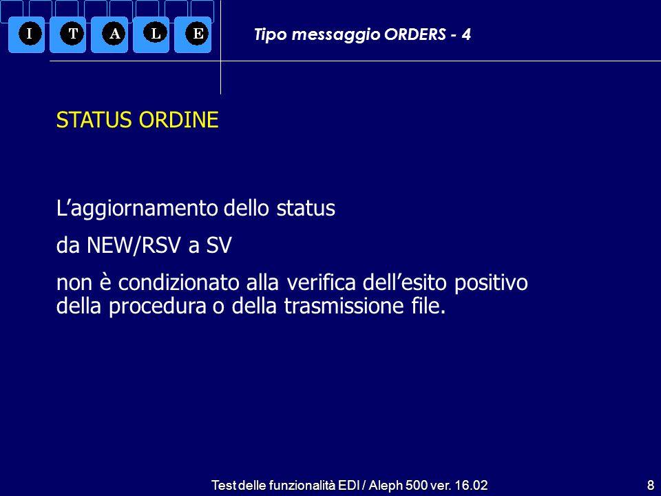 Test delle funzionalità EDI / Aleph 500 ver. 16.028 Tipo messaggio ORDERS - 4 Laggiornamento dello status da NEW/RSV a SV non è condizionato alla veri