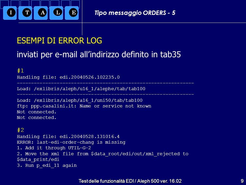 Test delle funzionalità EDI / Aleph 500 ver.16.0210 Tipo messaggio OSTENQ (sollecito) - 1 UNA:+..