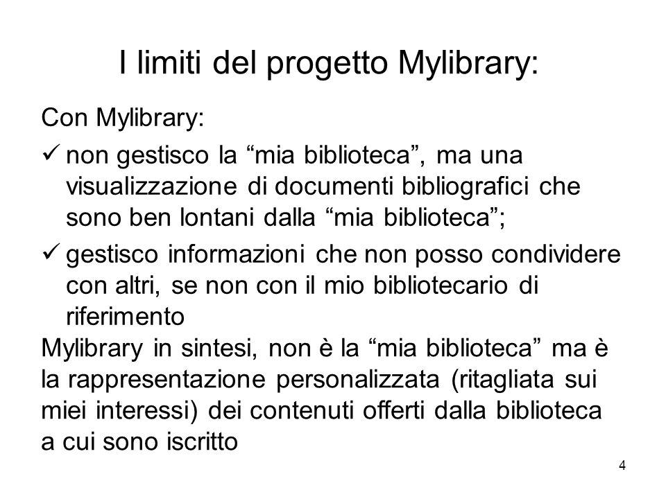 4 I limiti del progetto Mylibrary: Con Mylibrary: non gestisco la mia biblioteca, ma una visualizzazione di documenti bibliografici che sono ben lonta