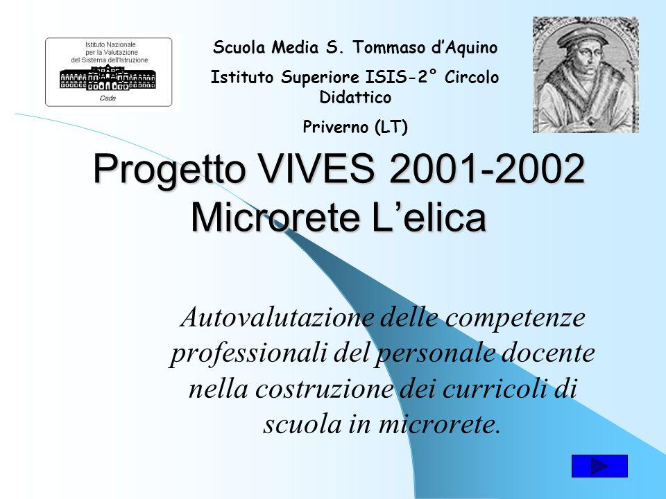Progetto VIVES 2001-2002 Microrete Lelica Autovalutazione delle competenze professionali del personale docente nella costruzione dei curricoli di scuola in microrete.
