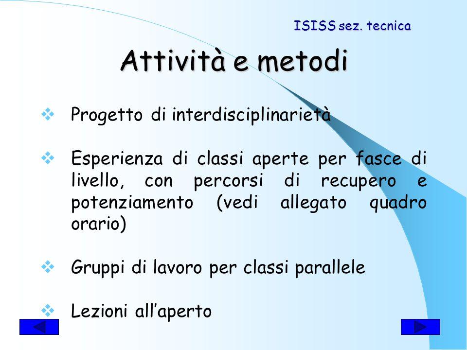 Discipline coinvolte Storia Italiano Disegno progettazione Informatica ISISS sez. tecnica