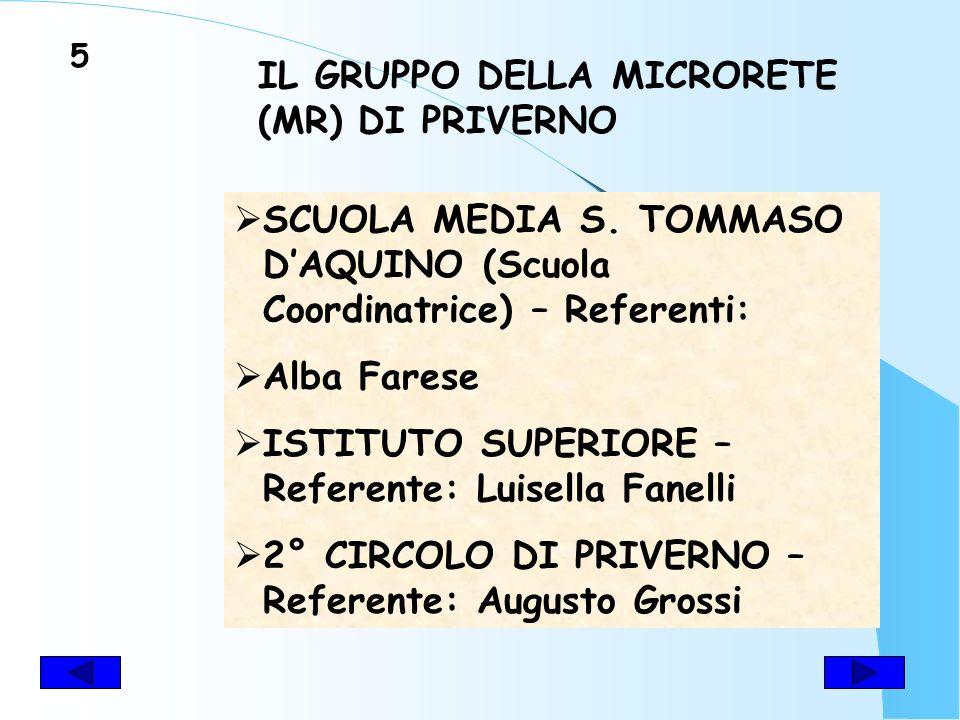 IL GRUPPO DELLA MICRORETE (MR) DI PRIVERNO SCUOLA MEDIA S.