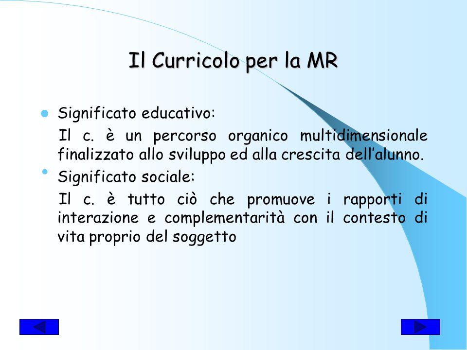 Il Curricolo per la MR Significato educativo: Il c.
