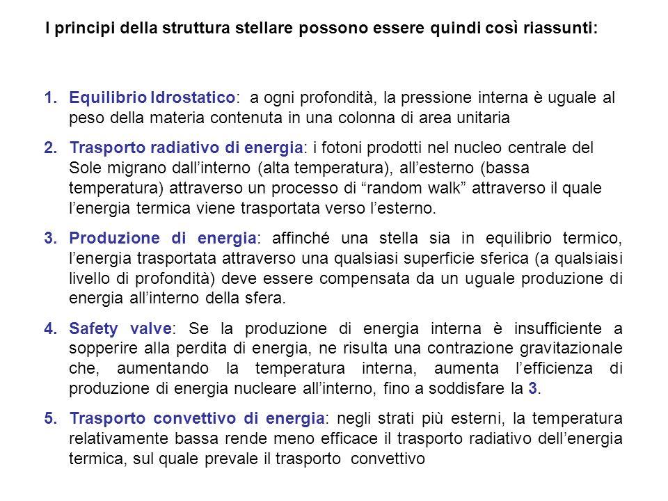I principi della struttura stellare possono essere quindi così riassunti: 1.Equilibrio Idrostatico: a ogni profondità, la pressione interna è uguale a
