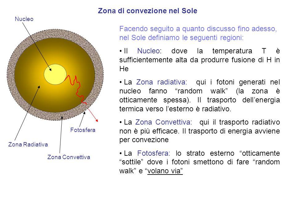 Zona di convezione nel Sole Nucleo Facendo seguito a quanto discusso fino adesso, nel Sole definiamo le seguenti regioni: Il Nucleo: dove la temperatu