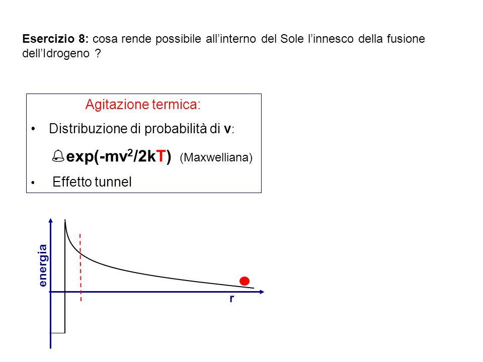 Esercizio 8: cosa rende possibile allinterno del Sole linnesco della fusione dellIdrogeno ? energia r Agitazione termica: Distribuzione di probabilità