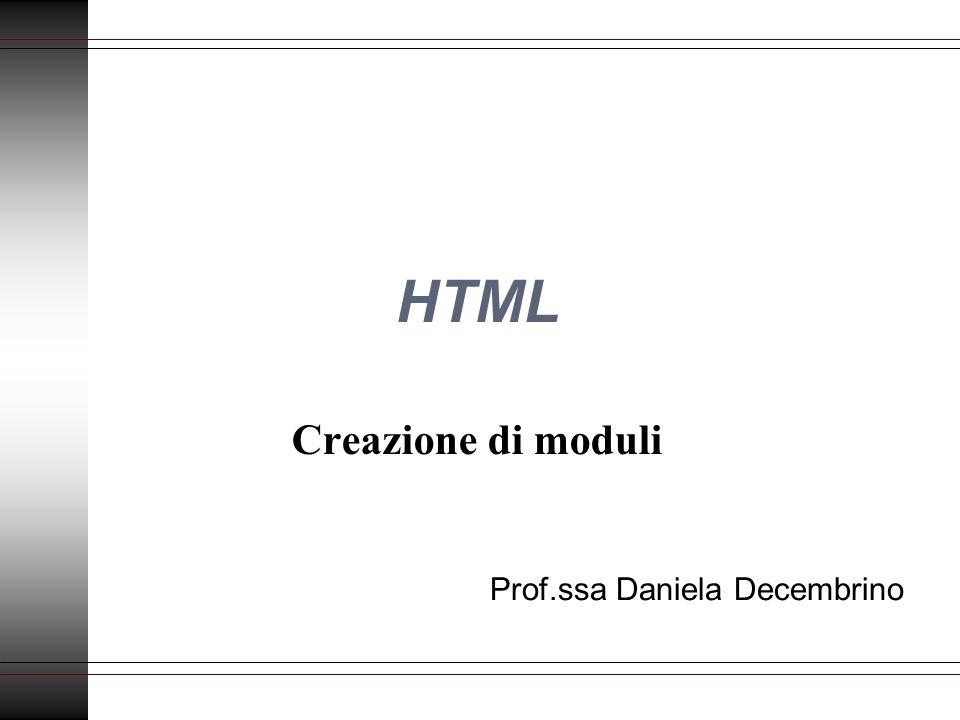 HTML Creazione di moduli Prof.ssa Daniela Decembrino