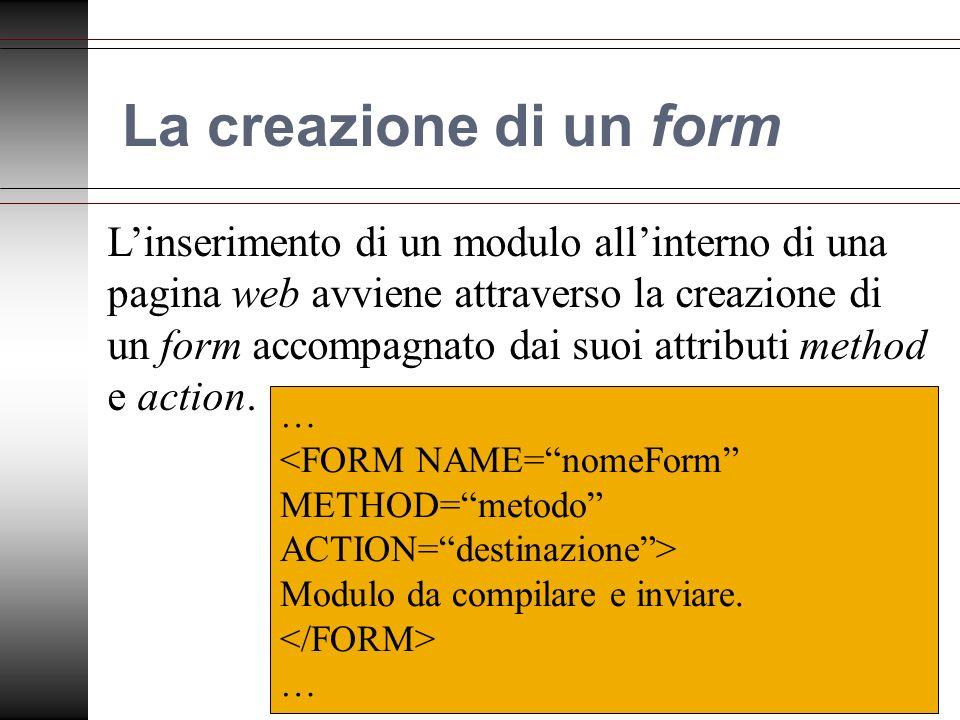 La creazione di un form Linserimento di un modulo allinterno di una pagina web avviene attraverso la creazione di un form accompagnato dai suoi attributi method e action.