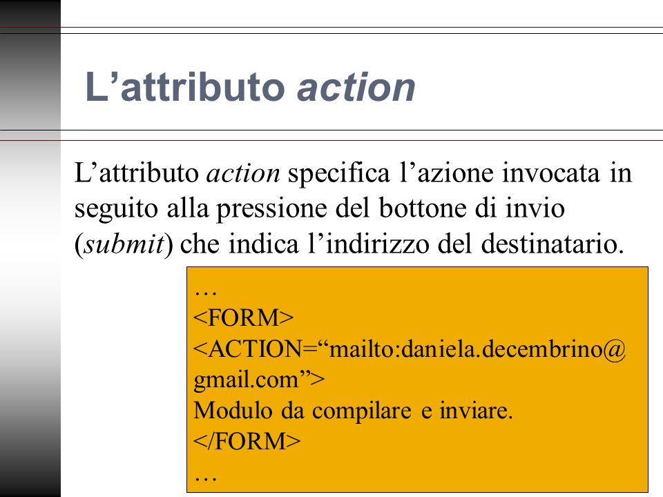 Lattributo action Lattributo action specifica lazione invocata in seguito alla pressione del bottone di invio (submit) che indica lindirizzo del destinatario.