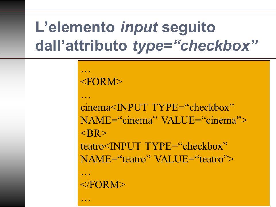Lelemento input seguito dallattributo type=checkbox … … cinema teatro … …