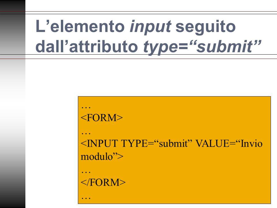 Lelemento input seguito dallattributo type=submit … … … …
