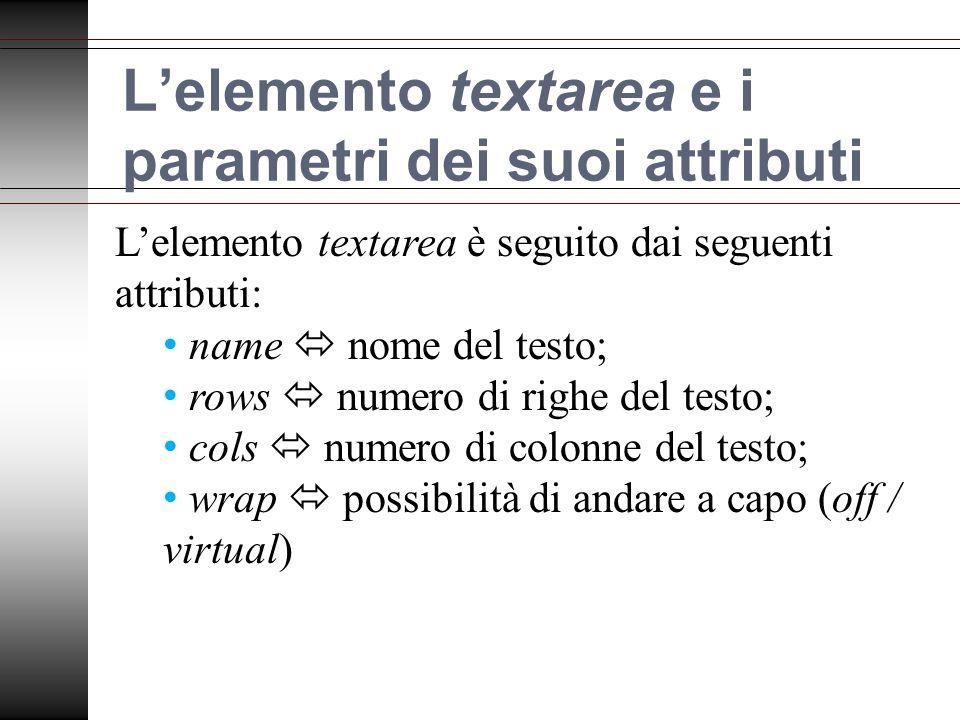 Lelemento textarea e i parametri dei suoi attributi Lelemento textarea è seguito dai seguenti attributi: name nome del testo; rows numero di righe del testo; cols numero di colonne del testo; wrap possibilità di andare a capo (off / virtual)