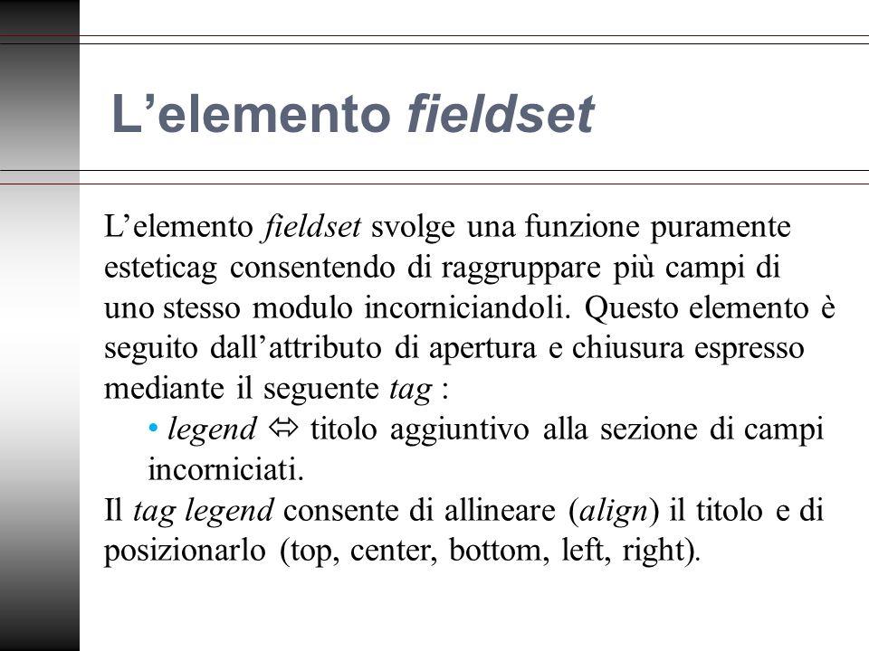 Lelemento fieldset Lelemento fieldset svolge una funzione puramente esteticag consentendo di raggruppare più campi di uno stesso modulo incorniciandoli.