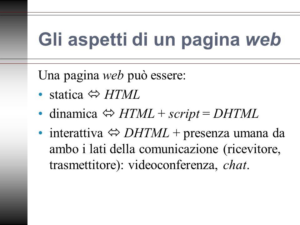 Gli aspetti di un pagina web Una pagina web può essere: statica HTML dinamica HTML + script = DHTML interattiva DHTML + presenza umana da ambo i lati della comunicazione (ricevitore, trasmettitore): videoconferenza, chat.