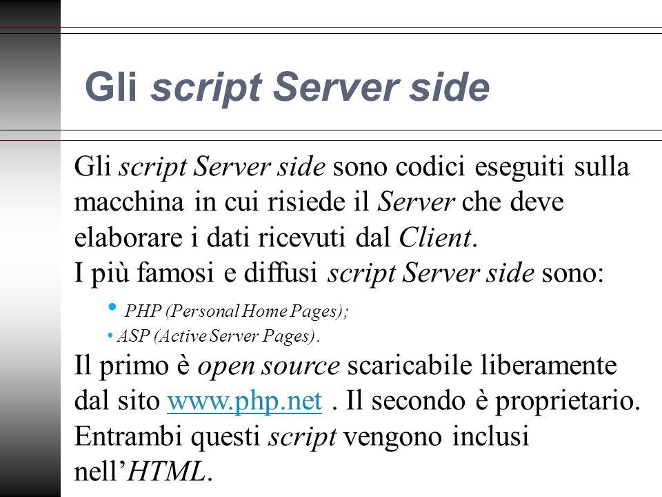 Gli script Server side Gli script Server side sono codici eseguiti sulla macchina in cui risiede il Server che deve elaborare i dati ricevuti dal Client.