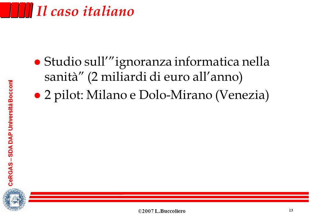 ©2007 L.Buccoliero 13 CeRGAS – SDA DAP Università Bocconi Il caso italiano l Studio sullignoranza informatica nella sanità (2 miliardi di euro allanno