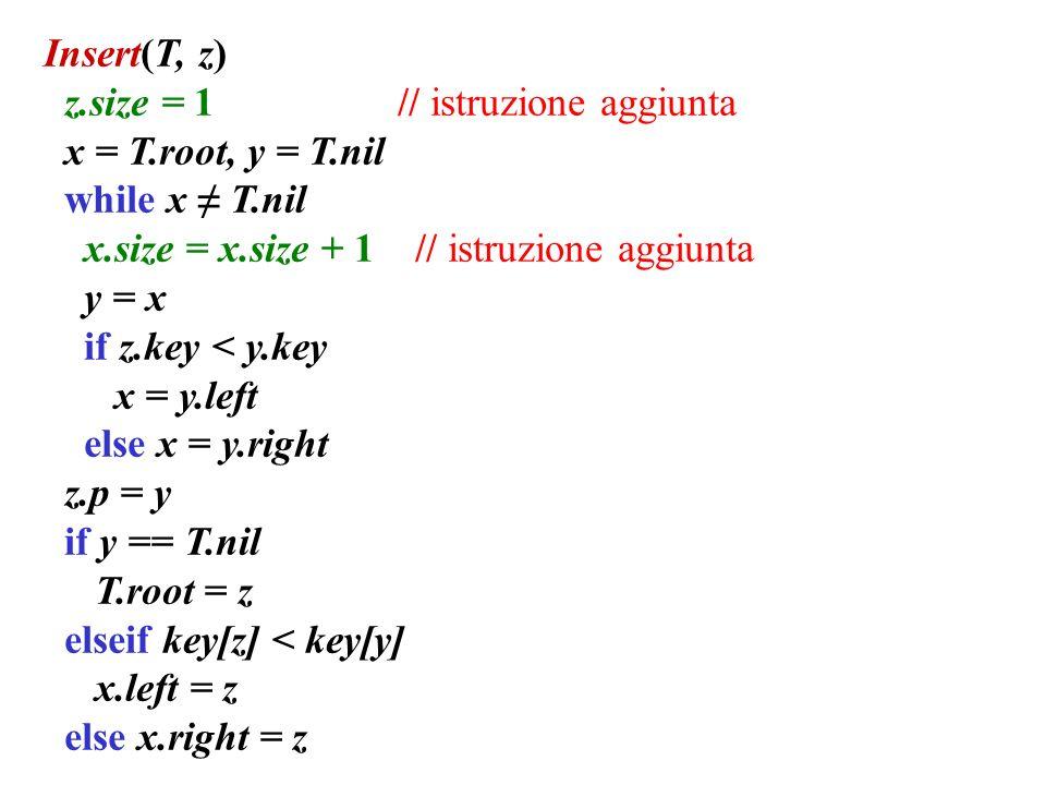 Insert(T, z) z.size = 1 // istruzione aggiunta x = T.root, y = T.nil while x T.nil x.size = x.size + 1 // istruzione aggiunta y = x if z.key < y.key x = y.left else x = y.right z.p = y if y == T.nil T.root = z elseif key[z] < key[y] x.left = z else x.right = z