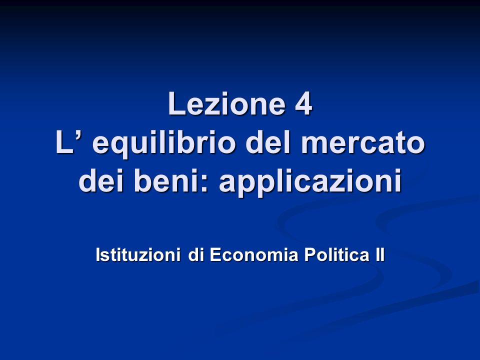 Lezione 4 L equilibrio del mercato dei beni: applicazioni Istituzioni di Economia Politica II