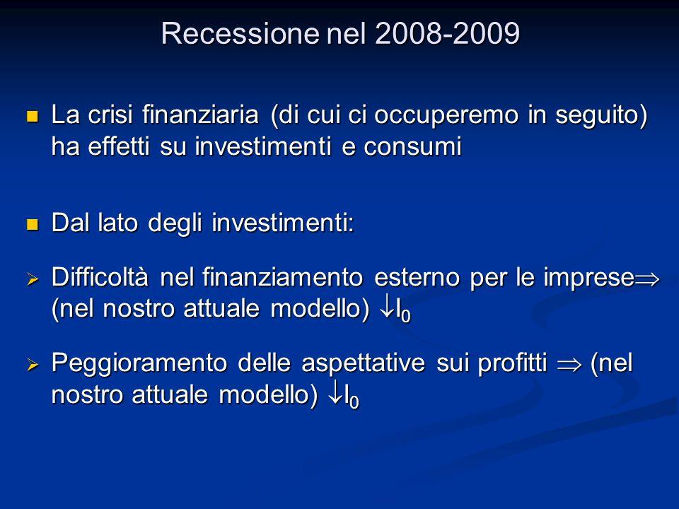 Recessione nel 2008-2009 La crisi finanziaria (di cui ci occuperemo in seguito) ha effetti su investimenti e consumi La crisi finanziaria (di cui ci occuperemo in seguito) ha effetti su investimenti e consumi Dal lato degli investimenti: Dal lato degli investimenti: Difficoltà nel finanziamento esterno per le imprese (nel nostro attuale modello) I 0 Difficoltà nel finanziamento esterno per le imprese (nel nostro attuale modello) I 0 Peggioramento delle aspettative sui profitti (nel nostro attuale modello) I 0 Peggioramento delle aspettative sui profitti (nel nostro attuale modello) I 0