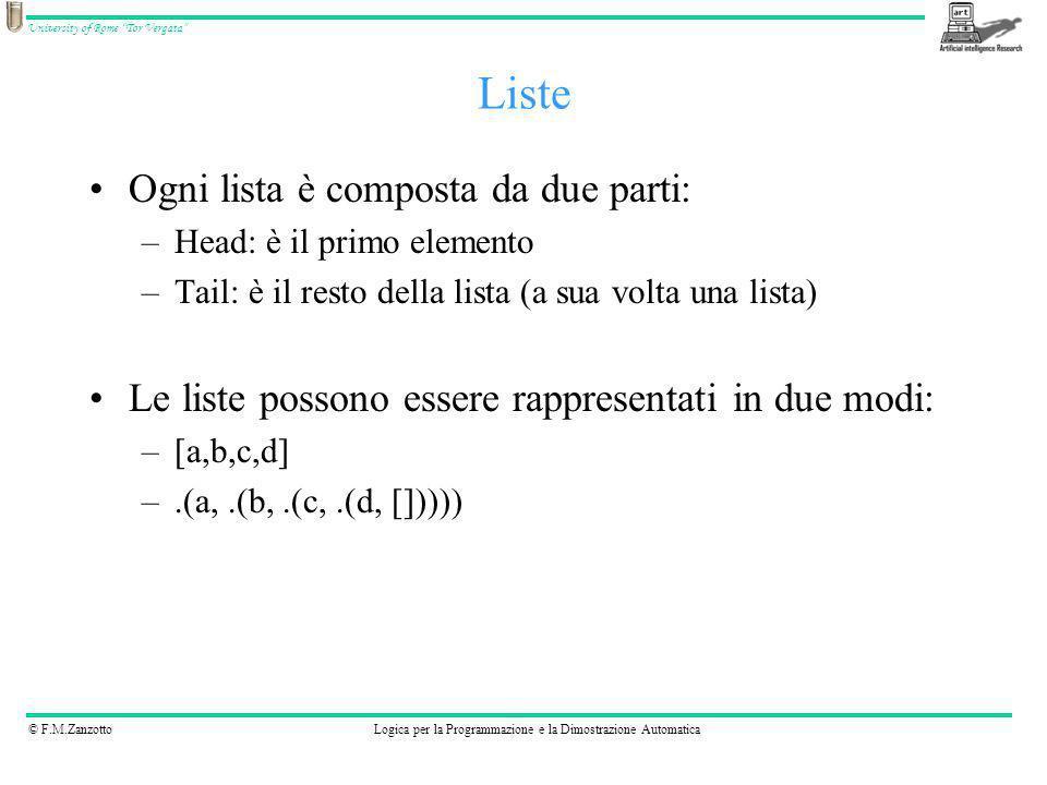 © F.M.ZanzottoLogica per la Programmazione e la Dimostrazione Automatica University of Rome Tor Vergata Ogni lista è composta da due parti: –Head: è i