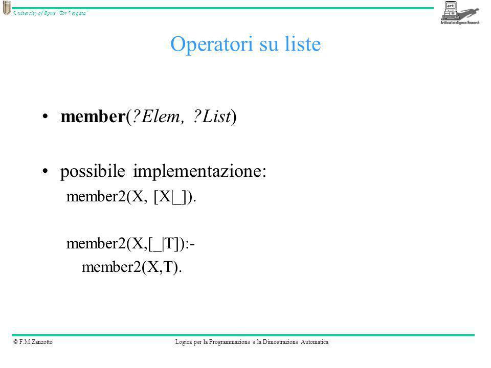 © F.M.ZanzottoLogica per la Programmazione e la Dimostrazione Automatica University of Rome Tor Vergata member(?Elem, ?List) possibile implementazione