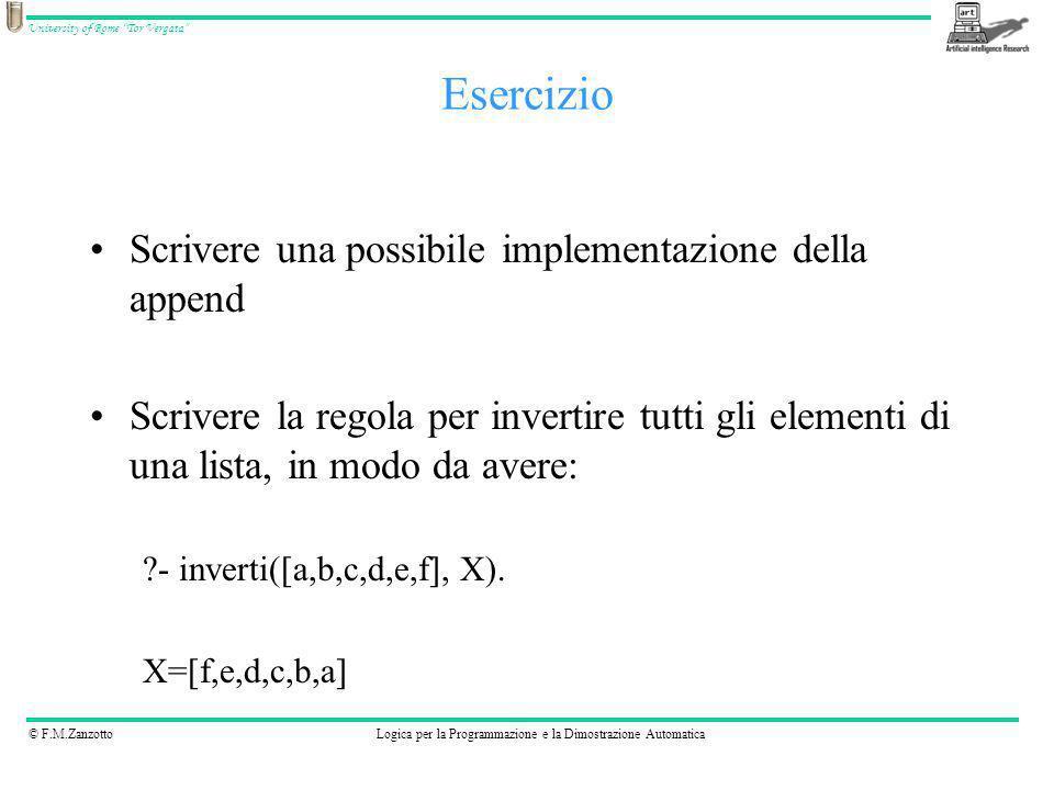 © F.M.ZanzottoLogica per la Programmazione e la Dimostrazione Automatica University of Rome Tor Vergata Scrivere una possibile implementazione della a