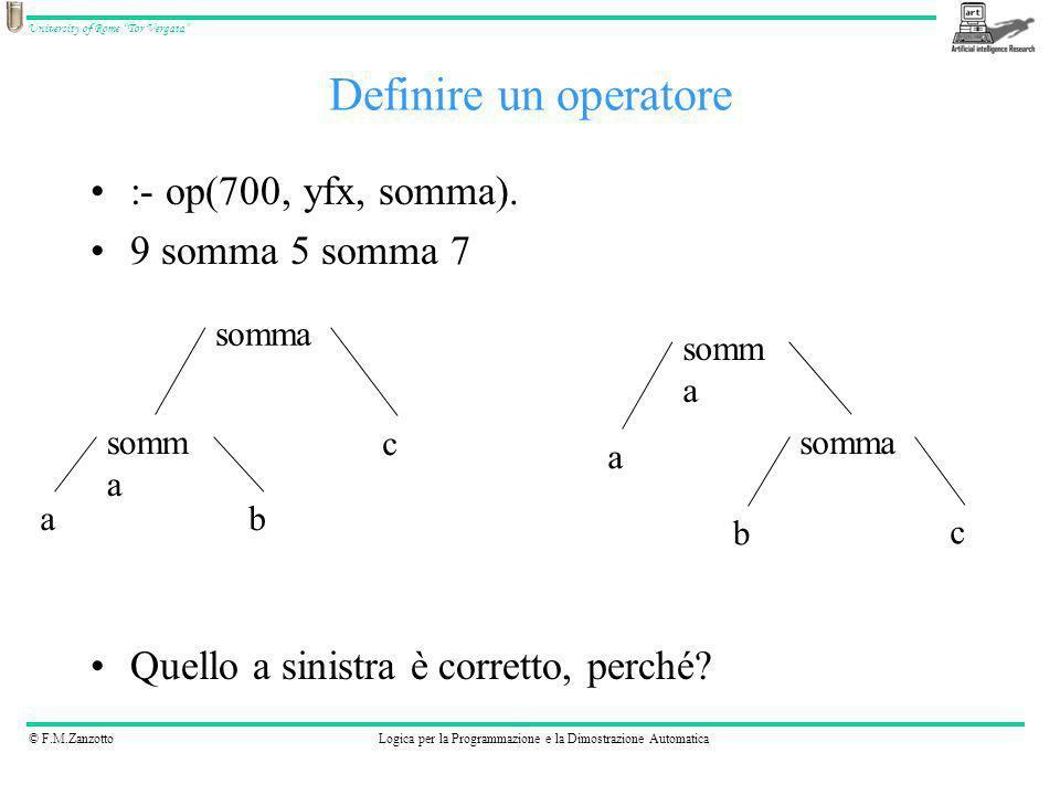 © F.M.ZanzottoLogica per la Programmazione e la Dimostrazione Automatica University of Rome Tor Vergata :- op(700, yfx, somma). 9 somma 5 somma 7 Quel