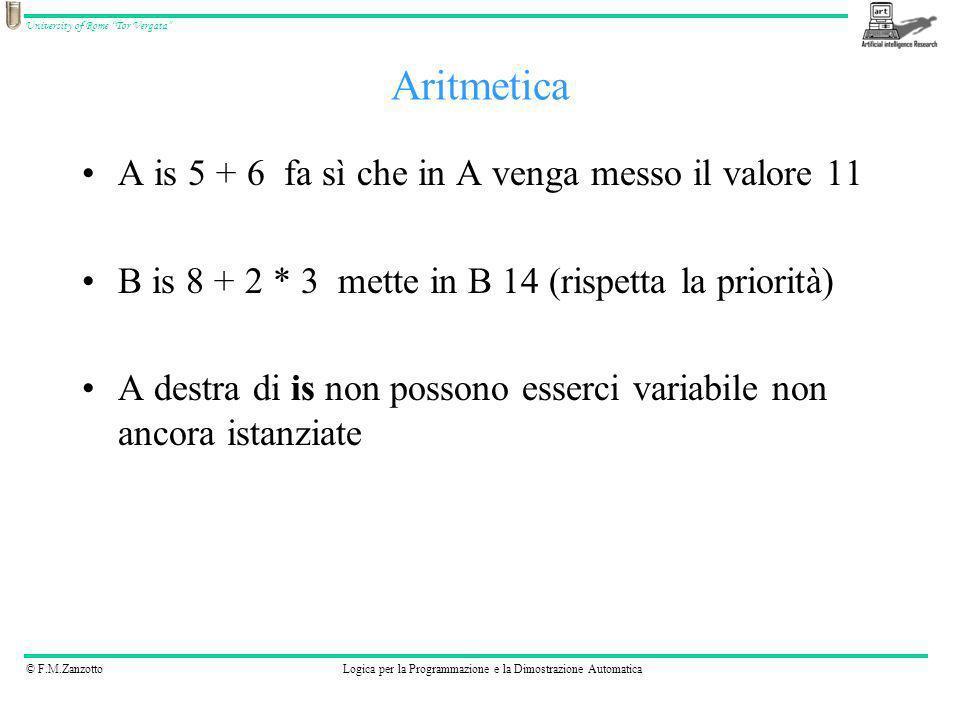 © F.M.ZanzottoLogica per la Programmazione e la Dimostrazione Automatica University of Rome Tor Vergata A is 5 + 6 fa sì che in A venga messo il valor
