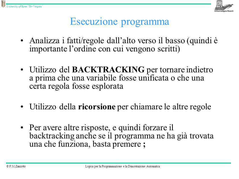 © F.M.ZanzottoLogica per la Programmazione e la Dimostrazione Automatica University of Rome Tor Vergata Analizza i fatti/regole dallalto verso il bass