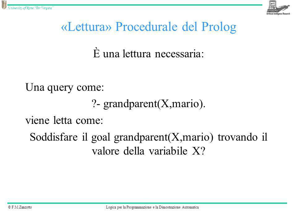 © F.M.ZanzottoLogica per la Programmazione e la Dimostrazione Automatica University of Rome Tor Vergata Osservazioni Importanza dellordine delle clausole e nelle clausole.